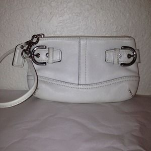 Authentic white Coach wristlet