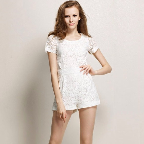 a9a6adb10d4f Dresses   Skirts - RESERVED  White Lace Short Romper Jumpsuit