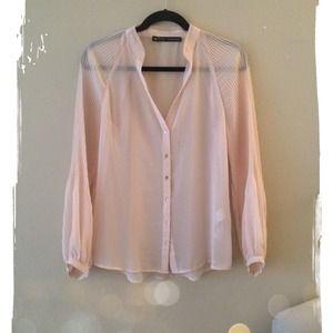 (Bundled!) Pale Pink Semi Sheer Zara Blouse