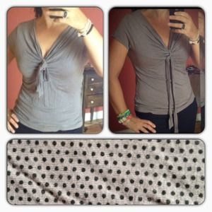 Cute polka dot Top with self tie at neckline