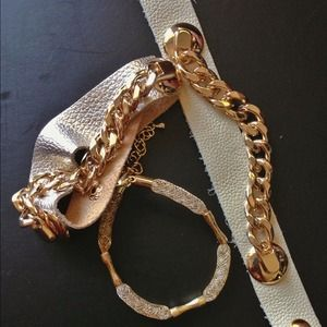 Jewelry - Chain leather bracelet - silver metallic