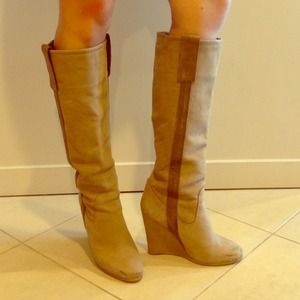 ZARA tan suede wedge boots