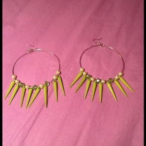 Lime green spike hoops