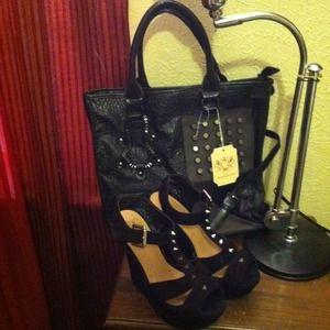 Shoes - Black wedge stud heels