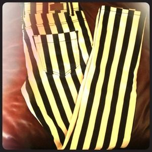 Denim Blvd Denim - Black and white striped jeans