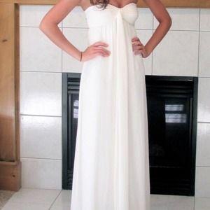 Bcbg white strapless dress