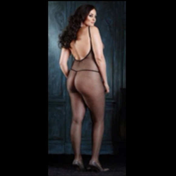 09a321f5d Plus Size V-Back Fishnet Bodystocking Queen