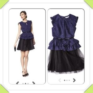 Host PickNavy and black peplum dress