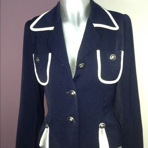 Navy blue with white trim blazer. Vintage!