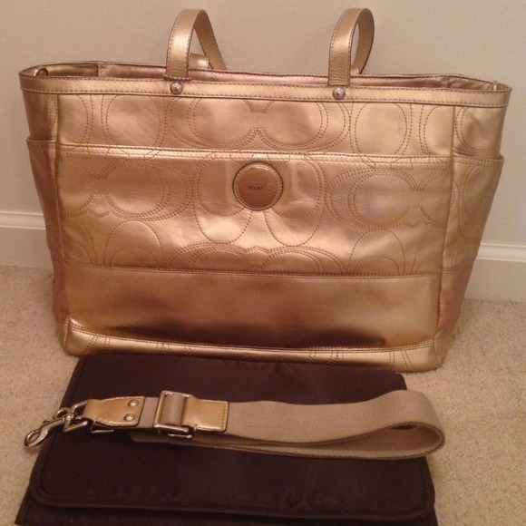 Coach Bags Large Diaper Bag Tote Gold Huge With Strap