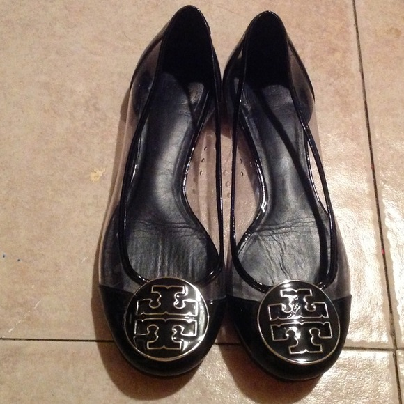 TORY BURCH Black/Clear Ballet Flats Shoes Sz 6