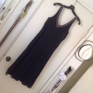 Ann Taylor Silk Dress with beaded neckline