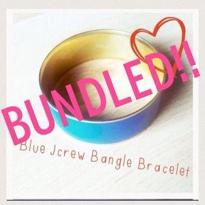 JCrew Large Blue/Gold Bangle Bracelet