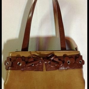 Handbags - Two-Tone Brown on Brown Handbag with Flowers