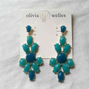 Olivia Welles faceted drop mint and gold earrings