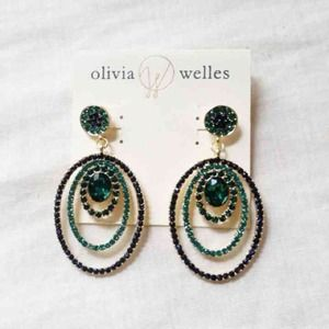 Olivia Welles drop oval in oval green earrings