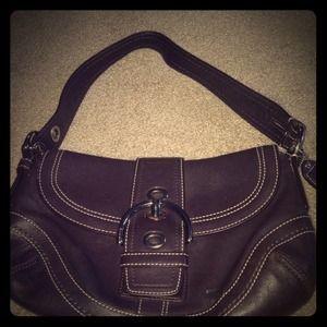 09f7bd50 Dark brown leather authentic coach purse