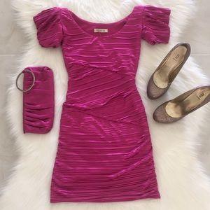 Arden B Accordion Dress, Magenta, XS