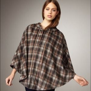 Robbi&Nikki hooded plaid cape med/large NWT Taupe