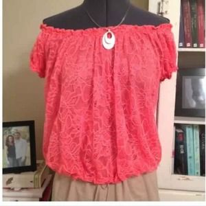 Sophie Max Tops - Coral Lace Bubble Shirt - Orange IS the NEW Black
