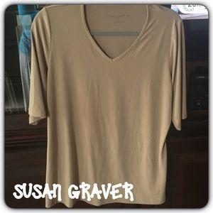 Susan Graver Tops - 💞Susan Graver💞 Liquid Knit 3/4 Sleeve Top