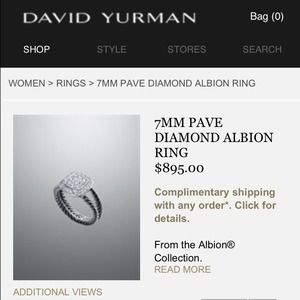 David Yurman 7mm Pave Diamond Albion Ring
