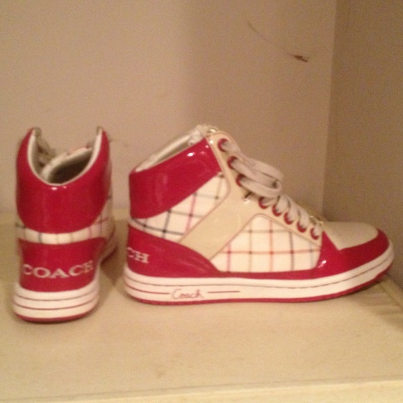62% off Coach Shoes - Coach high top sneakers. Pink and ...