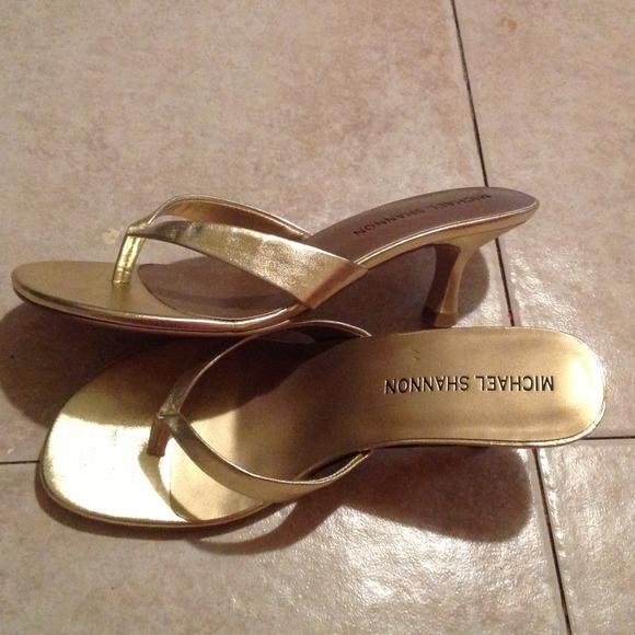 Michael Shannon - Michael Shannon Metallic Gold Kitten Heels