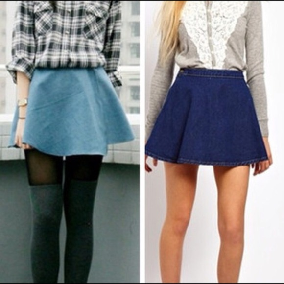 Flowy denim skirt *Light or dark * link In bio S-L from Yuniikuu's ...