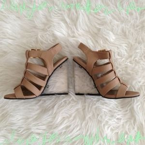 Shoes - 💰Reduced💰 Nude Snakeskin Lucite Wedge Heel