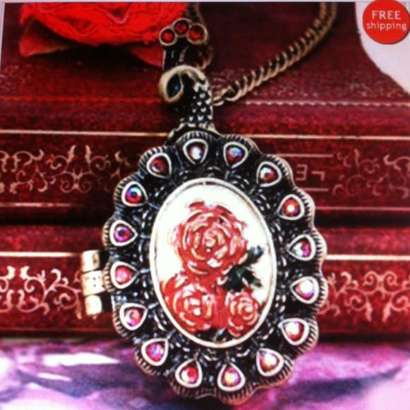 Rose Inspired ancient style peacock locket eternal