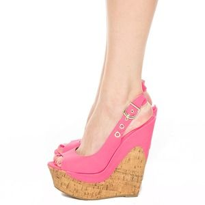 Cute Neon Hot Pink Wedges