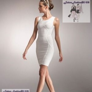 Authentic NWT Herve Leger Alabaster XS Dress 