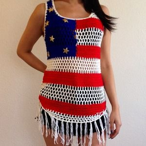 Tops - American Flag Crochet Top