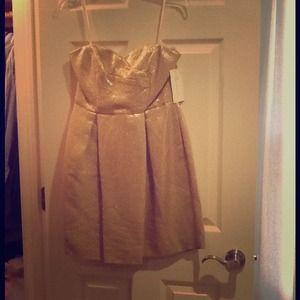 Shoshanna Gold Jacquard Strapless Dress