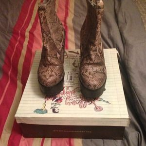 Jeffrey Campbell Snakeskin Wedge Ankle Boots