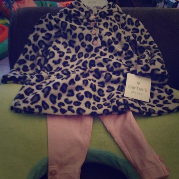 eb5db15d5 Carter's Other | 6m Carters Fleece Hoodie Pants Girl Leopard Print ...