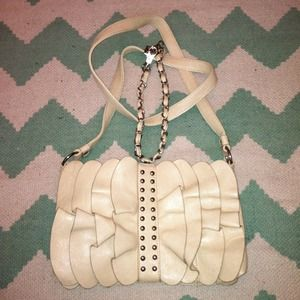 Cute Ruffled Beige Purse with Studs and two straps