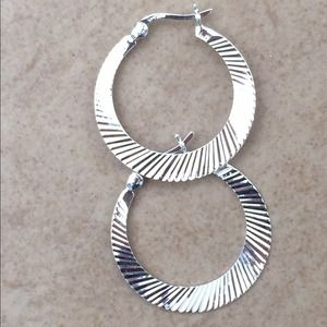 Sterling Silver Round Diamond Cut Hoop Earrings