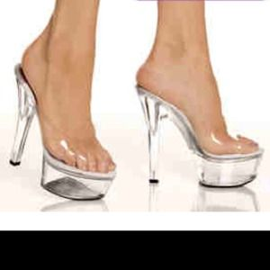 73% off highest heel collection Shoes - SZ:7 / 7.5INCH CLEAR ...