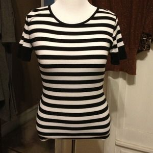 Sweet Romeo Tops - Black and White Stripe Tee