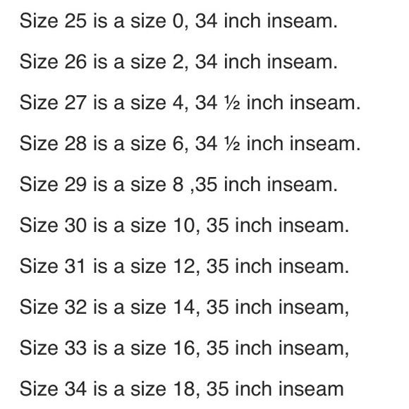 Miss Me - MISS ME jeans size chart for adult from Elena's closet ...