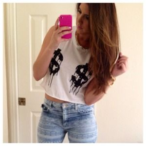 Tops - Dripping Dollar Signs Crop Top