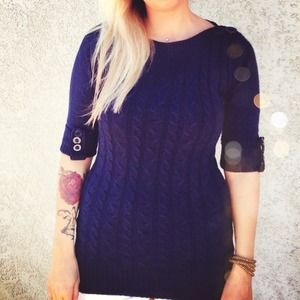 Tops - Navy Blue 3/4 Sleeve Sweater