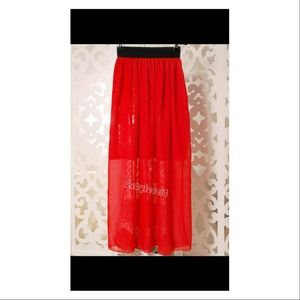 Dresses & Skirts - 🚫RESERVED🚫Red Chiffon skirt! Great for summer