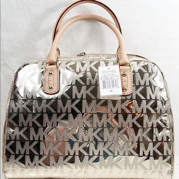 Michael Kors - Michael Kors Metallic Signature Large Satchel Bag ...