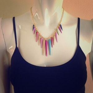 Jewelry - Multi color spike rocker neecklace