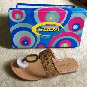 GoJane Shoes - Tan flat thong sandals, metallic accents