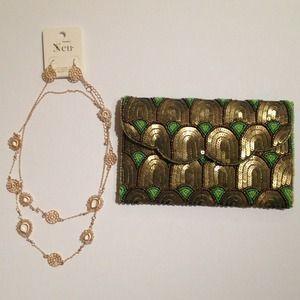 Beaded clutch with jewelry bundle