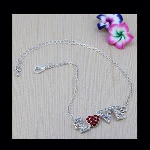 Lovely silver plated Love heart crystal bracelet